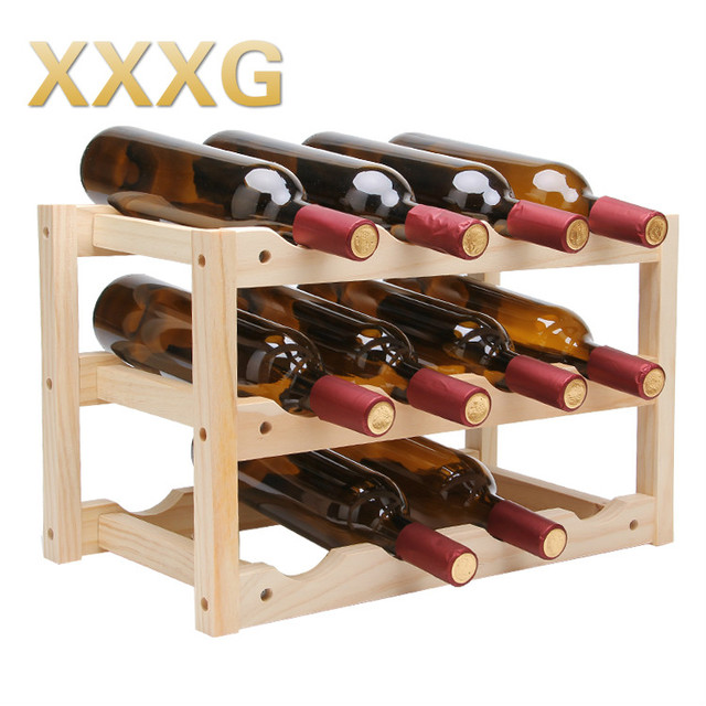 Xxxg Solid Wood Creative Folding Wine Red Wine Rack Household