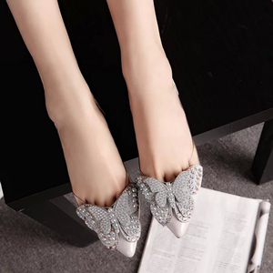 Image 3 - 2018 豪華なラインストーンバレエフラットシューズ女性春秋蝶結婚式の靴ローファーサイズ 39