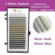 Free Shipping 4 Colors Y Glitter Eyelash Mink Eyelash Extension 0.15 Thickness 12mm Korea False Eyelash