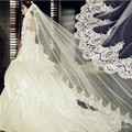 Vintage High Quality White Ivory 3 meter Tulle Wedding Dresses veils One Layer Applique Lace Bridal Veils hot sale