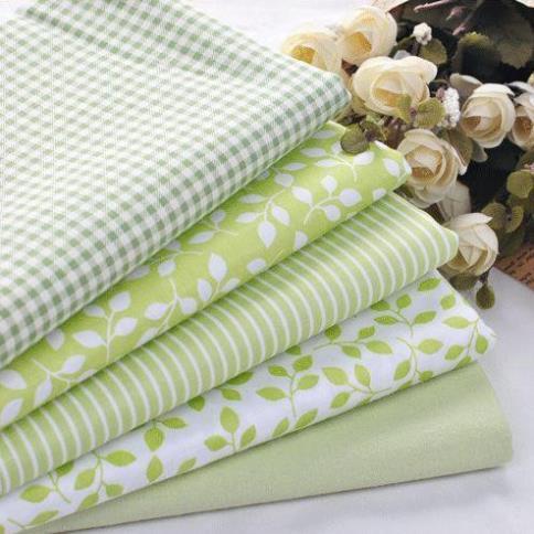 Booksew 100% Baumwoll-Twill-Stoff 5 Stück grün karierten Streifen Floral zum Nähen Patchwork Geldbörse Puppe Bettwäsche Stoff 40cm * 50cm