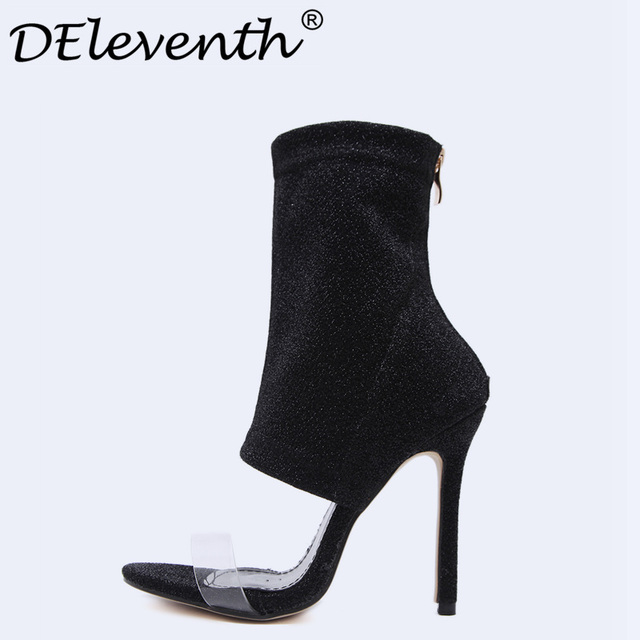 2018 Sexy Party Shoes Women Black Thin Heel roman Gladiator ...