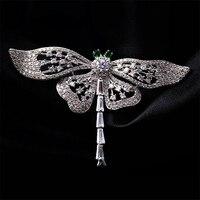 Người phụ nữ Món Quà Giáng Sinh Dragonfly Trâm Cài Corsages Đồ Trang Sức Shining Pha Lê Brooch Khăn Quần Áo Hijab Pins Lên Broach Phụ Kiện