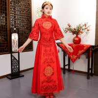 Chinese Satin Wedding cheongsam Qipao Red Sexy Cheongsam Modern Chinese Traditional Wedding Dress Women Vestido Oriental Collars