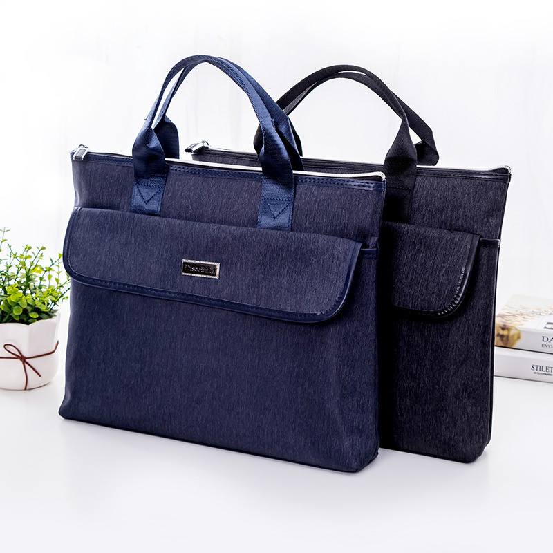 New A4 Oxford+PU Business Document Bag For Men And Women Laptop Cover Case Office Meeting Contract Document File Holder Handbag