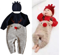 OCQBI Cute Xmas Newborn Baby Boys Girls Christmas Rompers Long Sleeve Deer Romper Jumpsuit Party Costume Baby Clothes