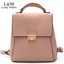 Luxy moon женщины искусственная кожа рюкзак розовый твердые рюкзак высокое качество рюкзаки подростковые девушки сумки на ремне mochila новый xa1035h