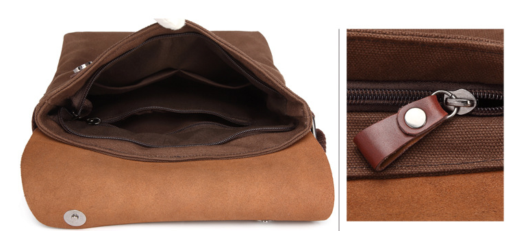 Simple Style Men Cloth Plus Leather Briefcase Men All-match Shoulder Work Bag Students College Laptop Bags Bolso Hombre D809