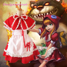 Game cosplay costume LOL Annie Hastur Little Red Riding Hood lolita Christmas Halloween maid Witch pcs-5