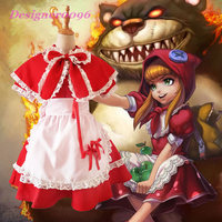 Game cosplay costume LOL Annie Hastur Little Red Riding Hood costume lolita Christmas Halloween maid costume Witch costume pcs 5
