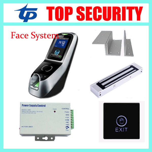 Multibio700 face and fingerprint time recorder and access control system with power supply,exit button and magnetic lock,bracket gprs real time fingerprint access guard tour system