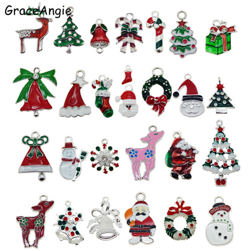 15pc/lot Mix Christmas Style Vintage Sock Tree Bell Snowflake Bracelet Necklace Pendant 25*18mm Man Charms Jewelry Fine GR-731(China)