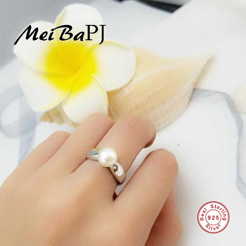 [MeiBaPJ]High Quality Natural Freshwater Pearl Ring Jewelry S925 Sterling Silver Adjustable Ring for Women Fine Jewelry