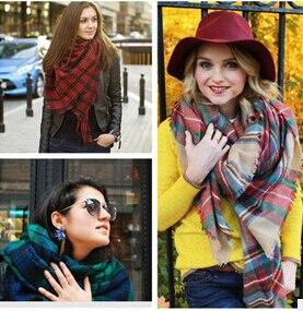 Za invierno 2015 Tartan Plaid Scarf bufanda Desigual nuevo diseñador Unisex acrílico chales básicos mujeres de gran tamaño el 140 * 140 CM