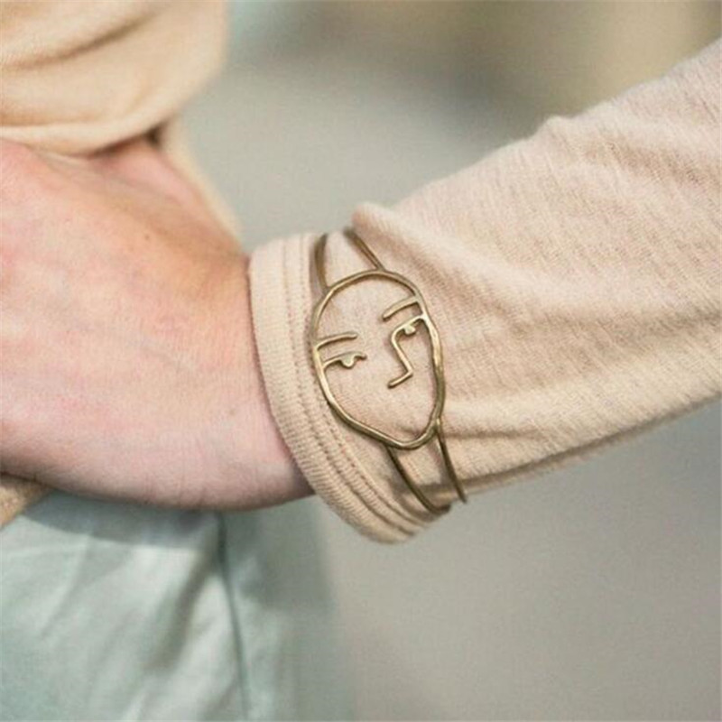 New Fashion Gold/Silver Color Cuff Bangle For Women Simple Style Moon Face Wire-Shaped Open Bracelets Statement Jewelry