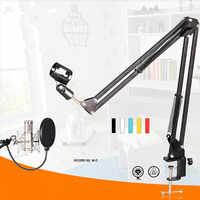 Nb-35 métal extensible enregistrement Microphone support trépied Boom ciseaux bras de suspension avec Microphone Clip de montage pince pour BM 800