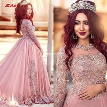 Long Sleeve Lace Evening Dresses Party Dubai Ball Gown Plus Size Luxury  Sequin Ladies Women Muslim Formal Dresses Evening Gown 3ab010ef8a62