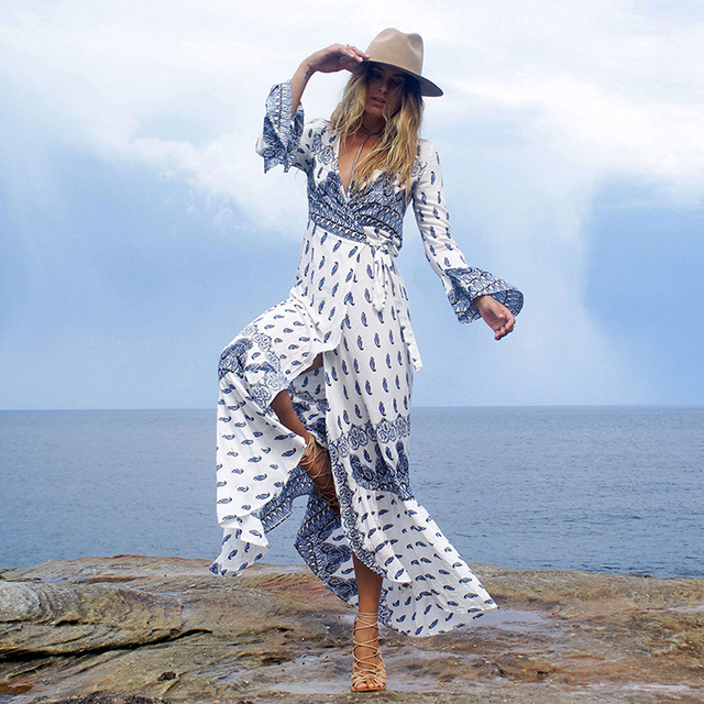 cdfa7448422 Boho Floral Print Split Long Dress Women Beach Summer V Neck Kimono Sexy  Dress Eleagnt Sash Wrap Maxi Dresses NQ812052