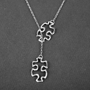 Fashion Casual Tibetan Silve Autism Jewelry Awareness Jigsaw Double Puzzle Piece Pendant Adjustable Cross Lariat Necklace Gifts(China)