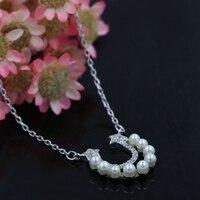 2016 neue 925 Sterling Silber Zirkon Sterne Perle Kurze Halskette & Anhänger Niedlichen Charme Geschenke für Frauen Mädchen