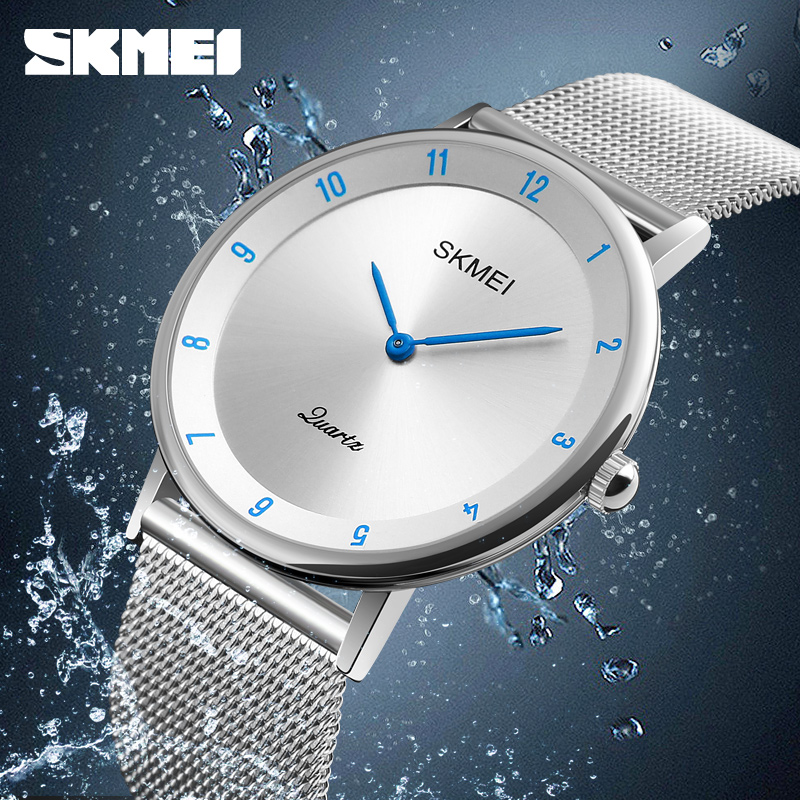 SKMEI Simple Ultra thin Quartz Watch Stainless Steel Mesh Strap Men's Watches Fashion Waterproof Clock Men Casual Wristwatches skmei lovers quartz watches luxury men women fashion casual watch 30m waterproof simple ultra thin design wristwatches 1181
