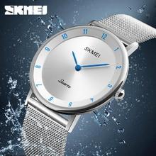 SKMEI Simple Ultra thin Quartz Watch Stainless Steel Mesh Strap Mens Watches Fashion Waterproof Clock Men Casual Wristwatches
