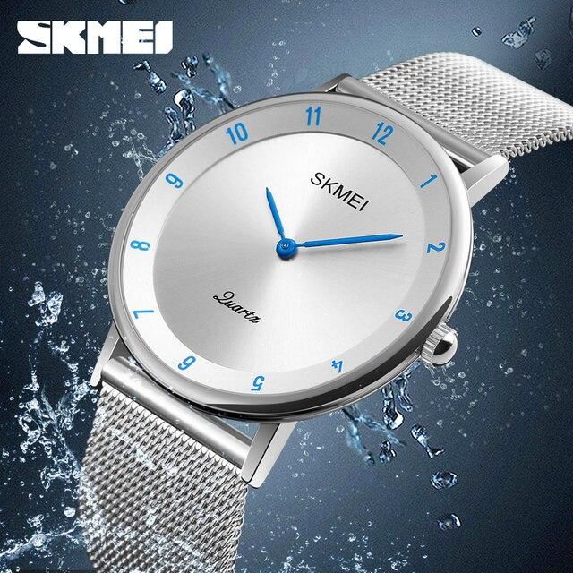 SKMEI prosty Ultra cienki zegarek kwarcowy siatka ze stali nierdzewnej zegarki męskie z paskiem moda wodoodporny zegar mężczyźni casualowe zegarki na rękę