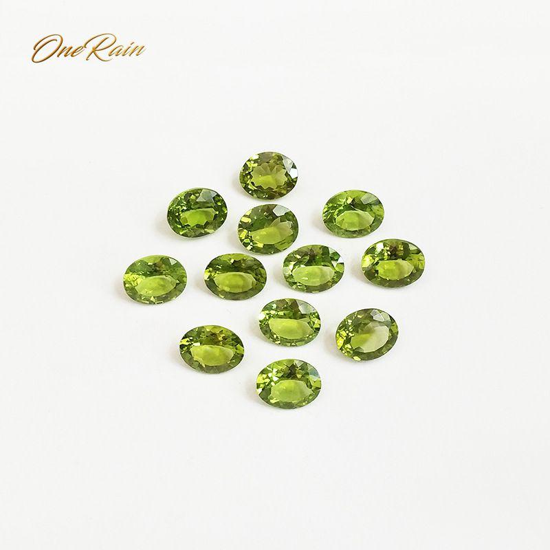 Wong Rain 1 PCS 3 CT Natural 8 * 10 MM Oval Cut Peridot Loose Gemstone DIY Stones Decoration For Jewelry Wholesale Lots Bulk