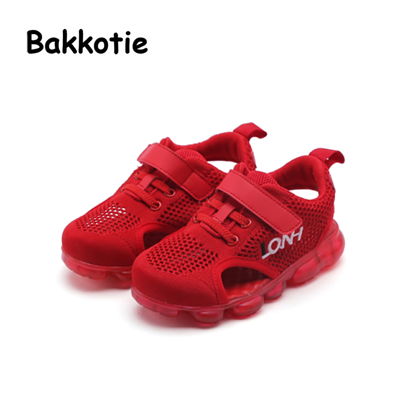 Bakkotie 2018 Summer Spring New Baby Boy Fashion Beach Sandals Children Red Flats Toddler Girl Brand Black Soft Sport Shoes