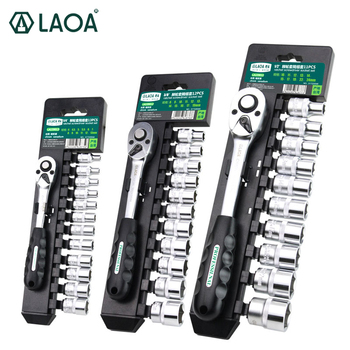 LAOA 13PCS Car Repair Tool Set Socket Wrench Set Cr-V Drive Spanner Ratchet Wrench for Bicycle Motorcycle Car Repairing Tool Set