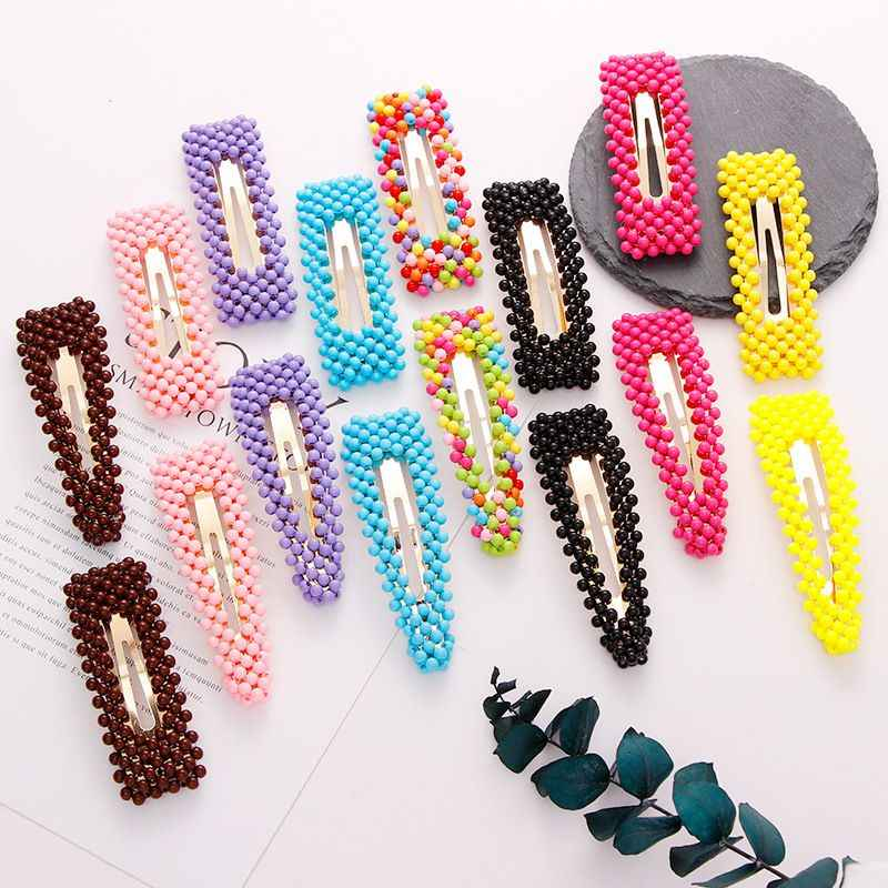 2019 New Cute Colorful Beads Waterdrop Rectangle Hairpins For Women Girls Headbands Hair Clip Barrettes Fashion Hair Accessories