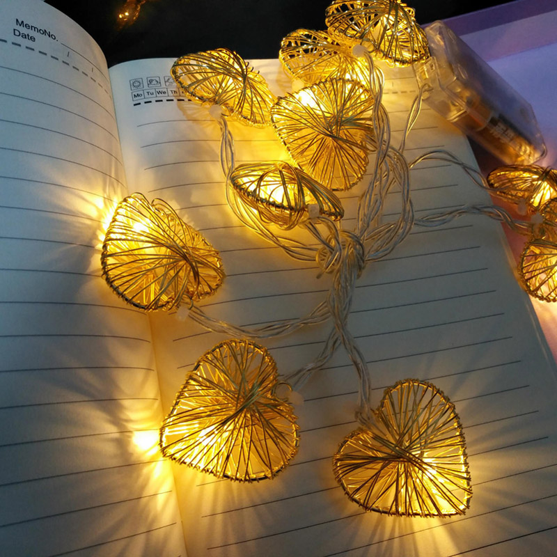 Jiawen 1.6M 10LED Iron Wire Stars Heart-shaped LED String Lights Christmas Festive Room Home Decorative Safty Lights Pendant