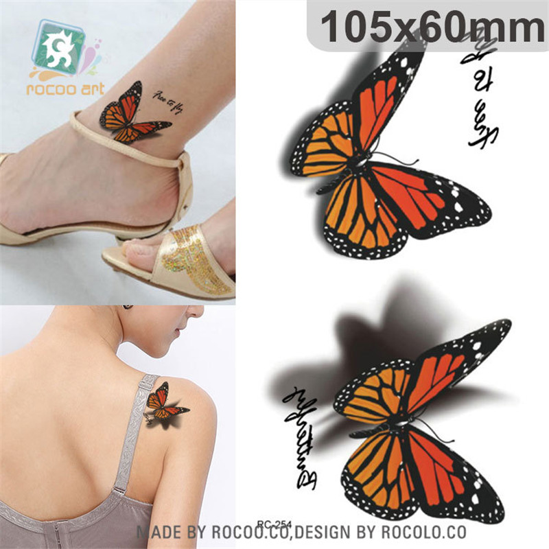 Harajuku Waterproof Temporary Tattoos For Women Lady Cute Colours Butterfly Design Flash Tattoo Sticker Free Shipping RC2254