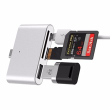 1 USB Type-C Card Reader to USB 2.0 Micro USB SD OTG Hub TF Memory Card Mini Converter Adapter Card Reader Hub amzdeal wholesale 10pcs lot usb otg card reader universal micro usb otg tf sd card reader usb memory card adapter reader