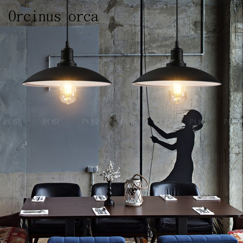 Nordic retro industrial wind iron black chandelier restaurant cafe bar simple pot cover single head Chandelier free shipping nordic retro industrial wind restaurant
