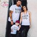 Família roupas combinando t-shirt branco do miniboss ou romper do bebê família roupa combinando clothing família mãe e filha roupas