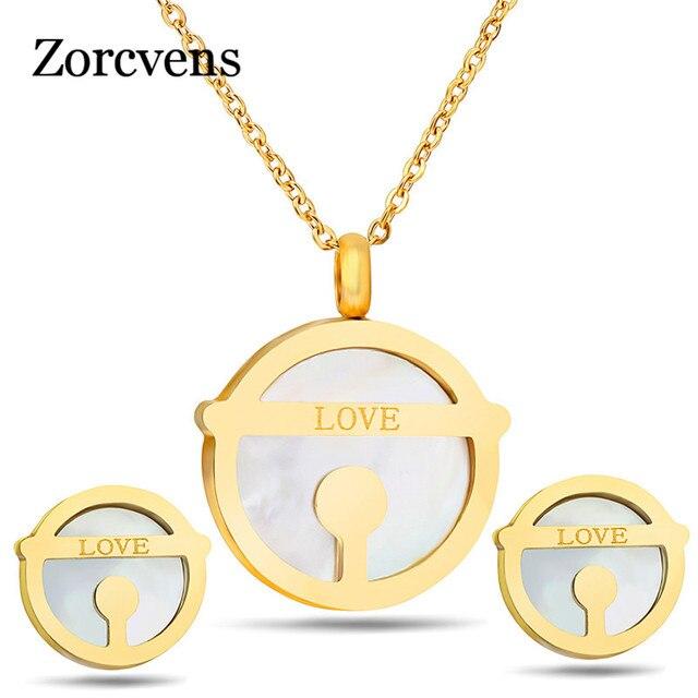 LETAPI חדש 316L נירוסטה מעטפת אהבת תכשיטי נשים זהב צבע שרשרת Stud עגילים למסיבת נשים