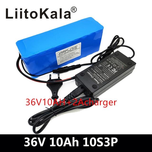 LiitoKala 36 فولت بطارية ليثيوم 36 فولت 10AH دراجة كهربائية بطارية 36 فولت 20 أمبير 1000 واط سكوتر بطارية مع 30A BMS 42 فولت 2A شاحن