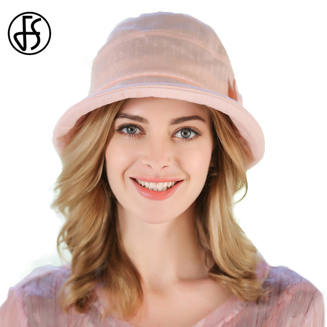 FS 2017 Women Blue Pink Sun Hats UV Foldable Bucket White Khaki Butterfly  Knot Short Brim Floppy Summer Hat Ladies Beach Cap 9a05eecb1db