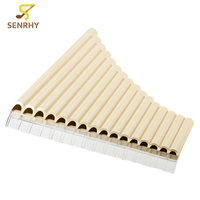 SENRHY 16 Tube Eco friendly Resin C tone Pan Flute Easy Learning for Woodwind Musical Instruments Lovers Beginner ivory yellow
