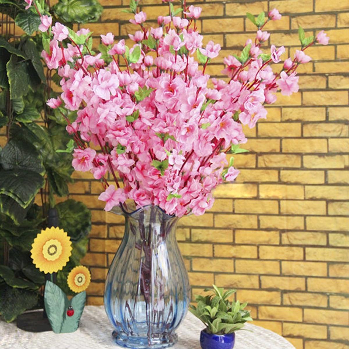 6st persika blomma simulering blommor konstgjorda blommor siden - Semester och fester - Foto 5