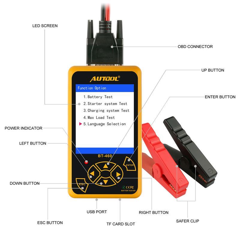 AUTOOL BT460 testeur de batterie de voiture Instruments d'analyse numérique CCA AGM GEL Auto analyseur de batterie 12V 24V outil de Diagnostic pour camion - 6