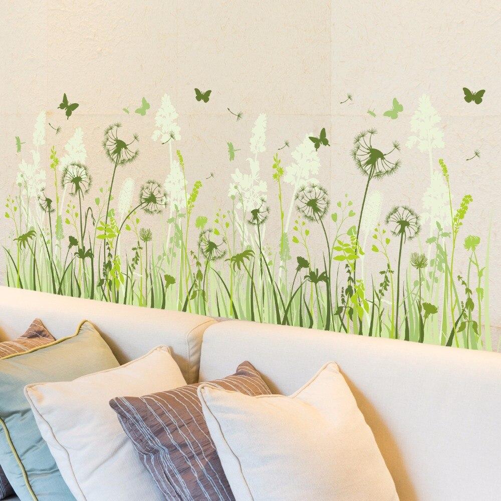 Green Color Dandelion Wall Stickers Vinyl DIY Dandelion Butterfly ...