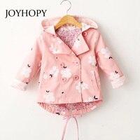 JOYHOPY Spring Autumn Girls Jacket Children S Clothing Girl Trench Coat Printing Kids Jacket Hooded Girl