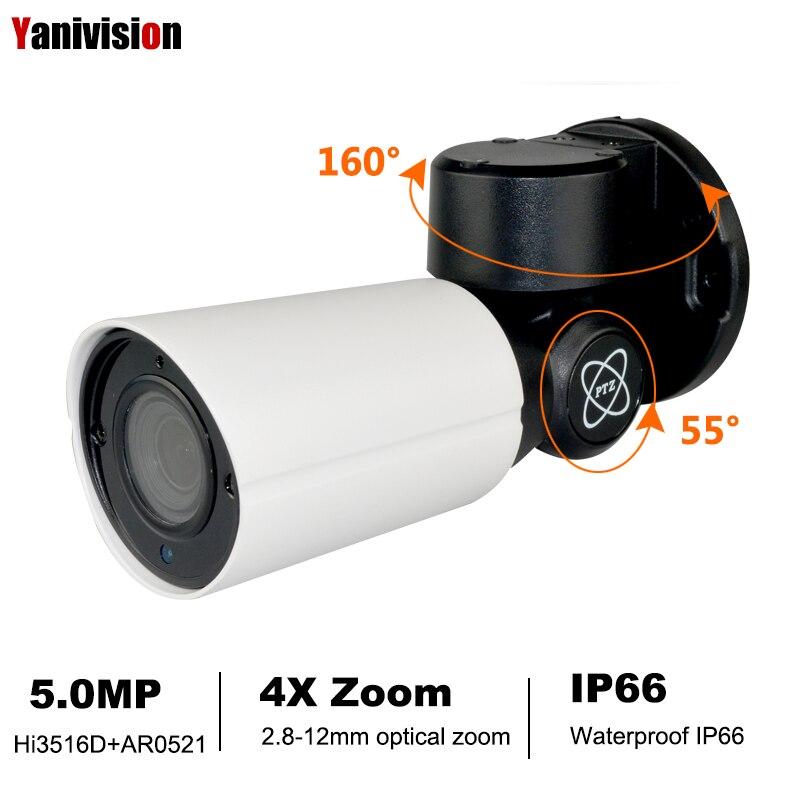 Mini caméra IP PTZ POE 5.0MP 4.0MP H.265 Zoom optique extérieur 4X IR 50 M P2P CCTV sécurité Onvif CCTV étanche