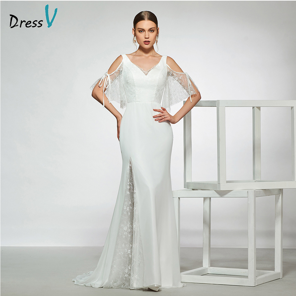Dressv elegant sample v neck mermaid button wedding dress short sleeves pattern floor length simple bridal gowns wedding dress