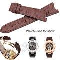 HENGRC Luxuoso Genuine Pulseira de Couro Cinto de 25*18mm Brown Black Watch Strap Para PP Sem Fivela Acessórios