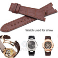 HENGRC Luxurious Genuine Leather Watchband Belt 25*18mm Brown Black Watch Strap For PP Without Buckle Accessories