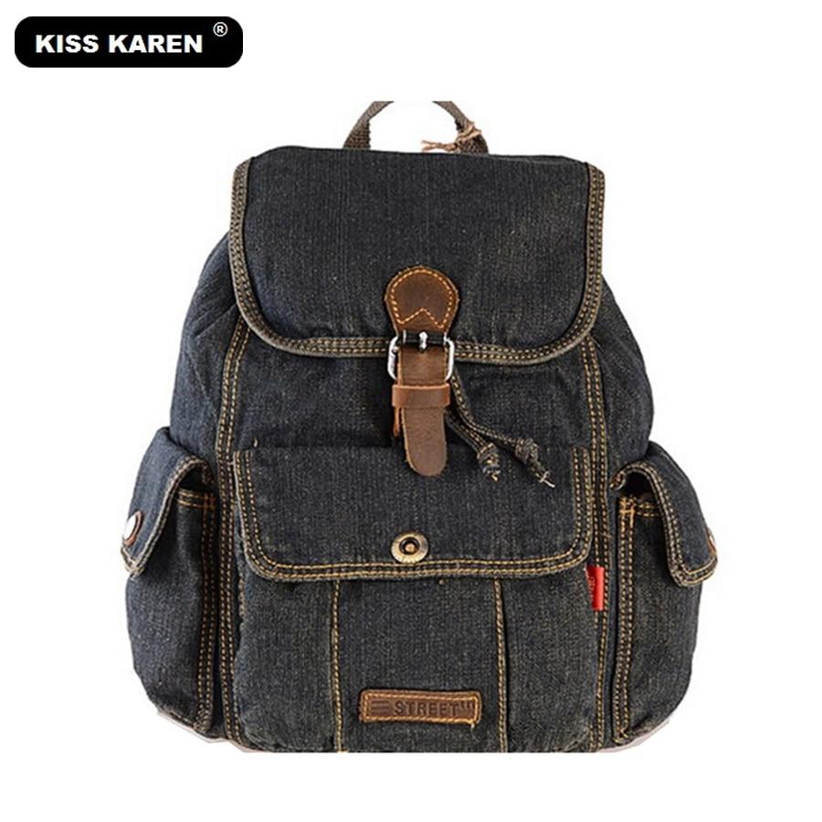 KISS KAREN Classic Cowboy Fashion Denim Women Backpack Casual Stylish Backpacks Jeans Women Bag Travel School Drawstring Bags women s classic backpack