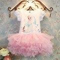 2015 Nuevos Vestidos de Las Muchachas Vestidos Niños Snow Queen Elsa Dress Niños Ropa de Verano Niña Vestido de Encaje Princesa Anna Vestido de Fiesta